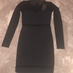 Black mesh ribbed dress